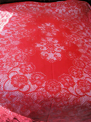 "Vintage Elegant Red Lace Tablecloths Floral Scroll Large 106"" x 77"" Rectangle"