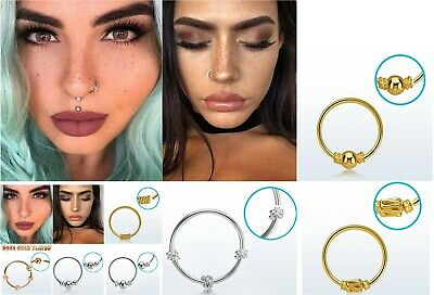 1Sterling Silver Nose Ring Hoop 8mm 10mm Small Thin Piercing Stud Body Jewellery