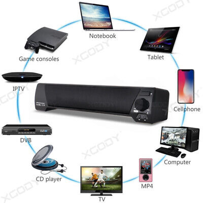 Bluetooth Wireless TV Soundbar Speaker 3D Sound Bar Home Theater Subwoofer RCA