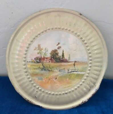 """Vintage Stove Pipe Flue Cover ~ Country House Summer Bridge Scene ~ 8"""" Round"""