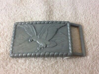 Collectible Vintage Silver Tone Majestic EAGLE & Mountains Belt Buckle pre-owned