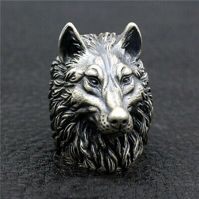 925 Sterling Silver High Detail  Wolf Ring Mens Biker Punk Ring Jewelry S3447