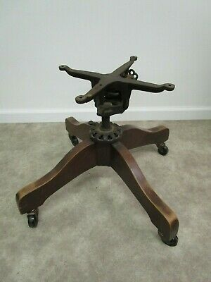 Antique Milwaukee chair company oak rolling chair base hardware vintage