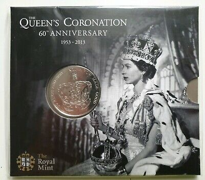 UK Royal Mint 2013 60th Anniversary of Queen's Coronation £5 Crown BU Coin Pack