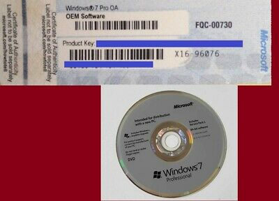 Windows 7 Professional License KEY WITH COA and 64 bit WIN7 Installation DVD
