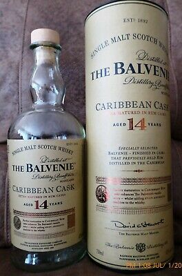 The Balvenie 14 Year Old Caribbean Cask Bottle & Cylinder / Great for Man Cave /