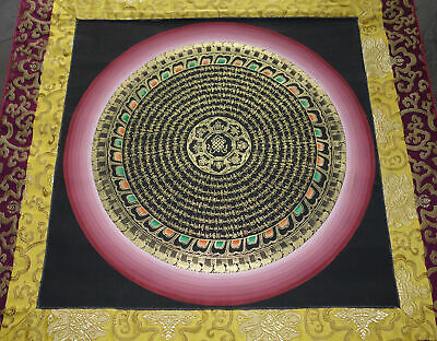 Traum-Thangka! Very Fine Mantra Mandala Brocade from Nepal + Lots of Gold! 36