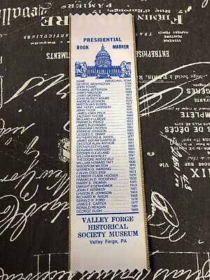 Vintage Valley Forge Historical Society Museum Presidential Book Marker
