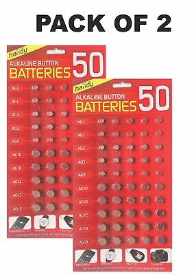 Pack Of 2 50 Assorted Button Cell Watch Battery Batteries Ag 1/3/4 /10 /12 / 13