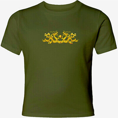 Two Chinese Gold Dragon Unisex Men Women Catoon T-Shirt