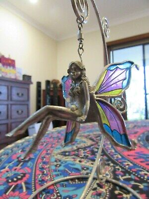 FAIRY Pewter with Stained Glass Wings Swinging Pretty Pink Blue Majick Wicca