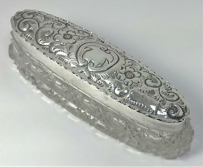 Antique hallmarked Sterling Silver & Cut Glass Dressing Table/Trinket Box – 1910