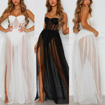 Summer Sexy Party Skirt Gown Women Lace Mesh See-through Long Maxi Dress Beach