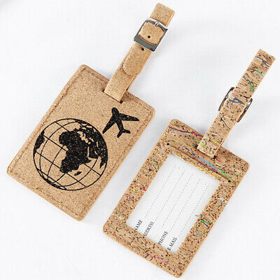 Retro Baggage ID Tag Card Suitcase Bag Label Luggage Earth PU Leather Travel