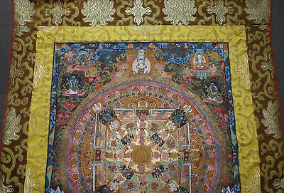 Wonderful Thangka Mandala + Buddha Nepal Very Fine + Lots of Gold in Brocade 37