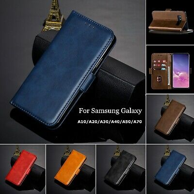 For Samsung A70 A50 A30 A20 A10 Case Retro Magnetic Leather Wallet Stand Cover