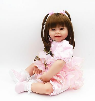 "24"" Reborn Baby Girl Toddler Handmade Doll Soft Silicone Vinyl Toy Kids Gifts"