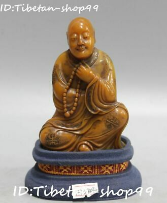 China Natural Shoushan Stone Carved Arhat Lohan Rohan Buddha Beads Monk Statue