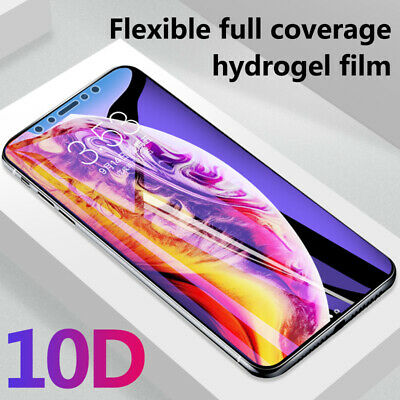 For iPhone Xs Max XR X 8 6 7 10D Full Soft Hydrogel Film Screen Protector Cover