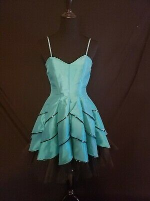 0164c8b056ad Vintage 80s 90s fit and flare party Prom dress taffeta teal black  Sleeveless m