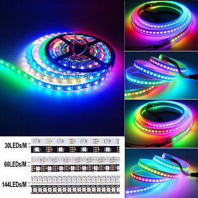 1M 5M WS2812B LED Strip Light 5050 RGB 30/60/144 LED/M IC Individual Addressable