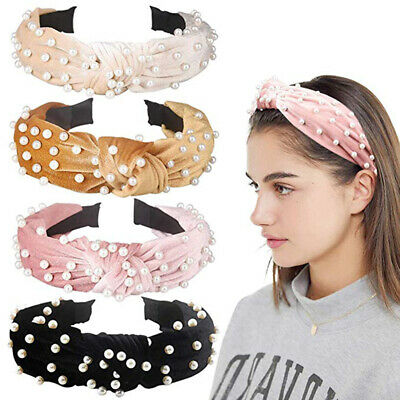 Women's Velvet Headband Hairband Pearl Wide Knot Hair Hoop Accessories Party