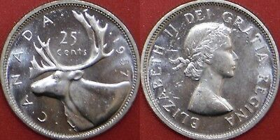 Brilliant Uncirculated 1957 Canada Silver 25 Cents From Mint's Roll