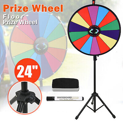 """Prize Wheel 24"""" Editable Dry Erase Color Fortune Spinning Game Floor Stand New"""