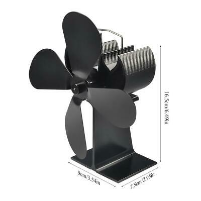 Heat Powered 4 Blade Stove Fan for Wood Fireplace Log Burners Silent Quiet Fans