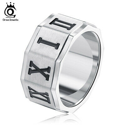 Fashion Men Stainless Steel Ring Roman Numerals Punk Ring Jewelry Size 7-13