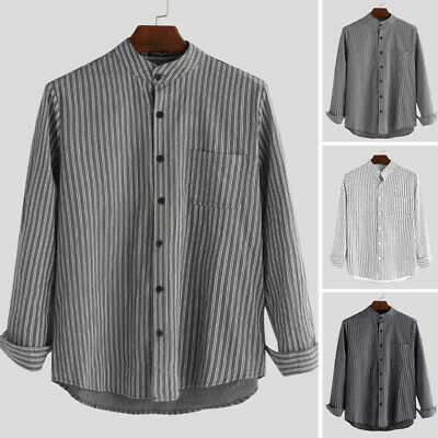 Mens Collarless Shirts Vintage Striped Shirt Grandad Button Down Linen Loose Top