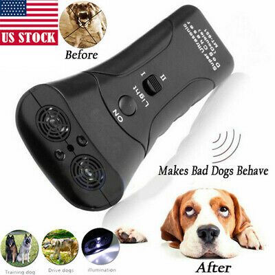 USA Ultrasonic Anti Dog Barking Trainer LED Light Gentle Chaser Petgentle Sonics