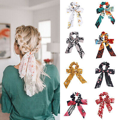 Ladies Girl's Bow Hair Tie Band Scrunchies Knot Ponytail Holders Ropes Headband