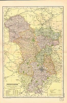 1895 Antique Map - Derbyshire, Roshton, Chesterfield, Buxton, Ashborne