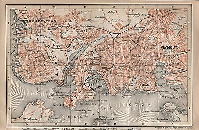 1910 Baedeker Antique Map- Uk-Town Plan, Plymouth