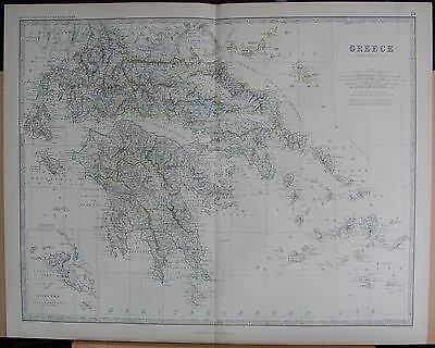 1875 Extra Large Antique Map - Greece