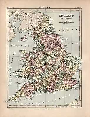 1880 ca ANTIQUE MAP-ENGLAND & WALES IN 1878