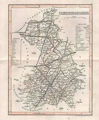 1845 Antique Map-Dugdale/Archer - Cambridgeshire,Ely,Wisbeach,Linton,Caxton