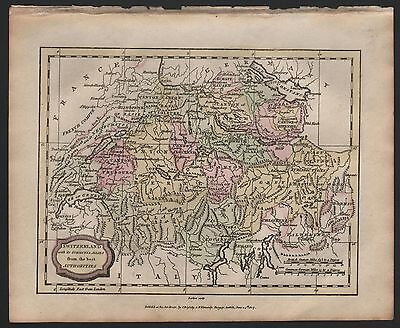 1807 Antique H/Col Map - Switzerland With Its Subjects & Allies
