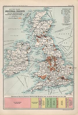 1904 Antique Map British Isles Industrial Products
