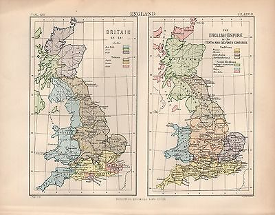 1880 ca ANTIQUE MAP-BRITAIN IN 597, ENGLISH EMPIRE IN 10TH/11TH CENTURIES