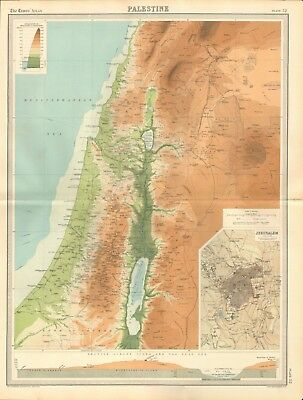 1920 Antique Map- Palestine, Jerusalem, Section Across Judea And Dead Sea