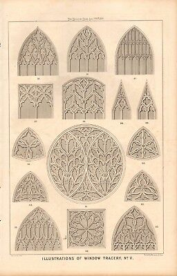 1870 Antique Architecture, Design Print- Illustrations Of Window Tracery, #5