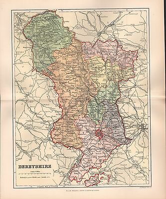 1895 Antique County Map-Derbyshire Bakewell Wirksworth Ashbourne Ripley Buxton