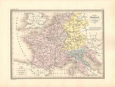1880 Ca ANTIQUE MAP- MALTE-BRUN- FRANCE -EMPIRE-KINGDOM OF ITALY 1812 TO 1815