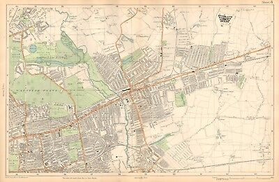 1912 Ca LARGE SCALE BACON STREET MAP- LONDON - ILFORD,UPTON,BARKING,WANSTEAD