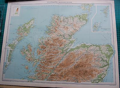 1922 Large Antique Map- Scotland-Northern Section