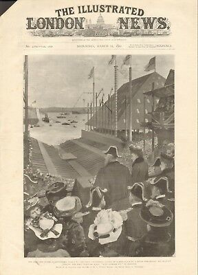 "1902 Antique Print- King And Queen At Devonport, Hms ""King Edward Vii"""