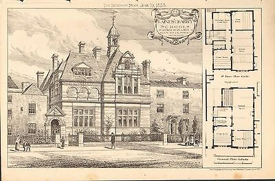 1884 Antique Architectural Print-Raines Charity Schools,St George In Ye East