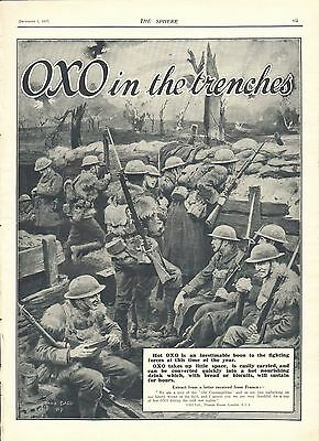 1917 Antique Print- Ww1-Advert-Oxo In The Trenches